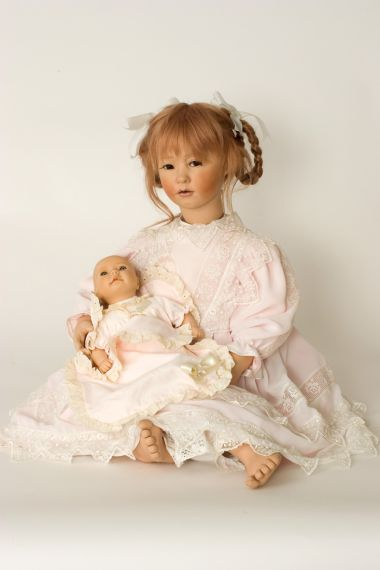 Caroline - collectible one of a kind porcelain soft body art doll by doll artist Ute Kase-Lepp.