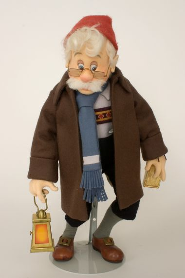 Geppetto Searching - collectible limited edition felt molded art doll by doll artist R John Wright.