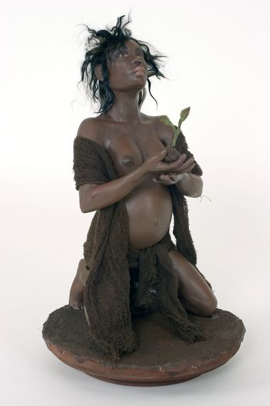 Earth - collectible one of a kind mixed art doll by doll artist Pat and Tom Kochie.