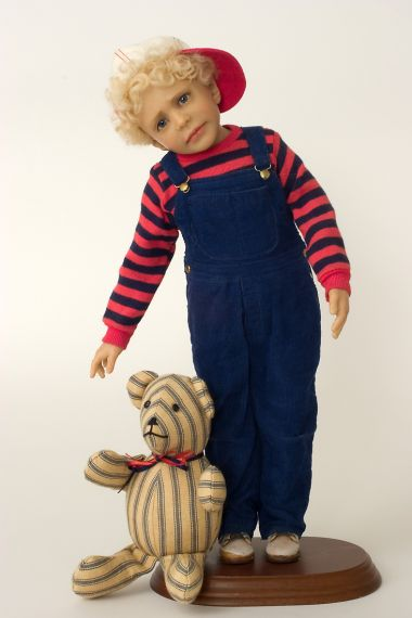 Kevin - collectible one of a kind polymer clay art doll by doll artist Diane Keeler.