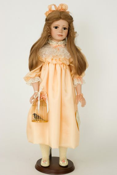 Clancy - collectible limited edition porcelain soft body art doll by doll artist Janet Ness.