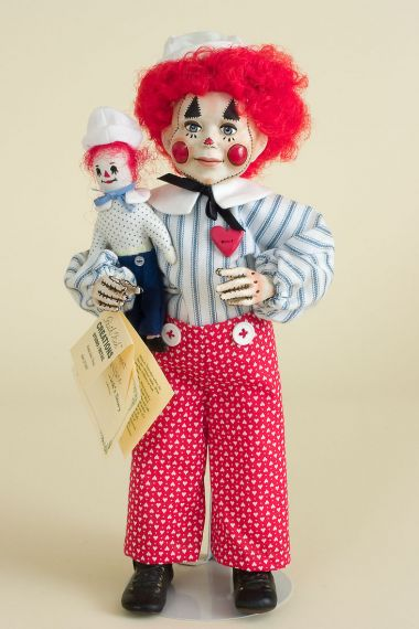 Raggedy Andy with Poppet - limited edition resin collectible doll  by doll artist Faith Wick.