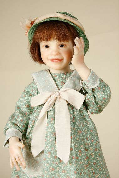 Carolina - collectible one of a kind polymer clay art doll by doll artist Pamela Erff.