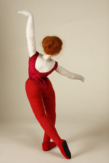 Dancers - collectible one of a kind cloth art doll by doll artist Akiko Anzai.