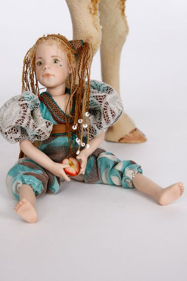 Collectible One of a Kind Porcelain doll Push Me - Pull You by Joanne Callander