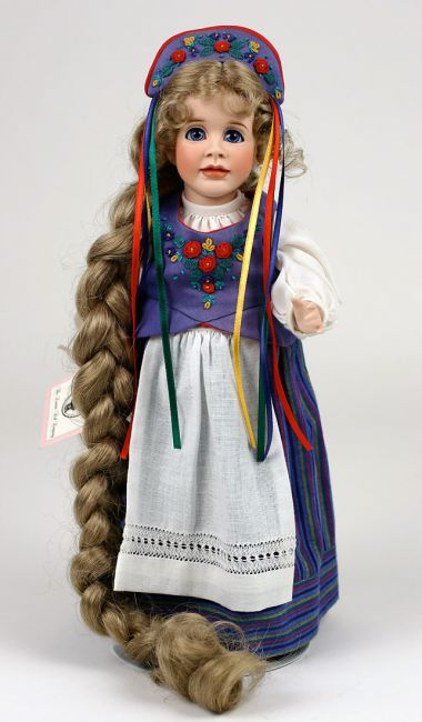 Rapunzel - limited edition porcelain collectible doll  by doll artist Wendy Lawton.